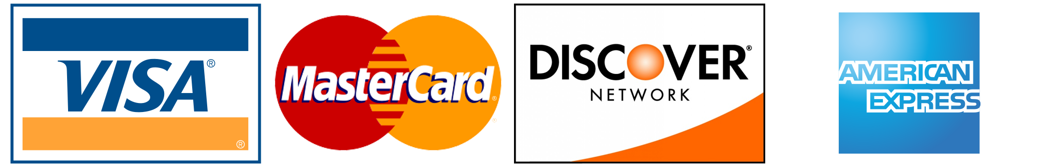 We Accept Visa, Mastercard, and Discover Card